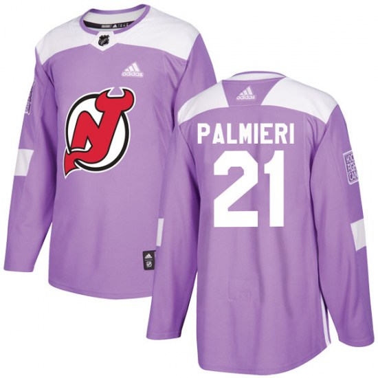Kyle Palmieri New Jersey Devils Youth Authentic Fights Cancer Practice Adidas Jersey - Purple